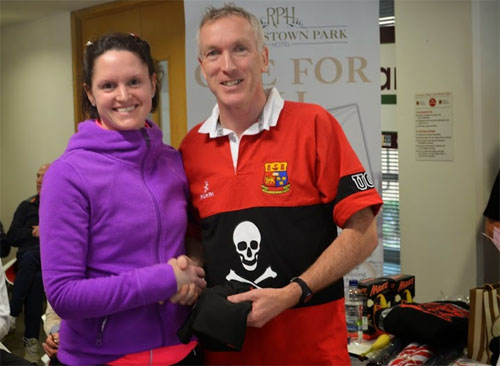 Eleanor Fennessey of Eagle AC...3rd F35...with Ken Devine of UCC. Photo : Irene Hartigan