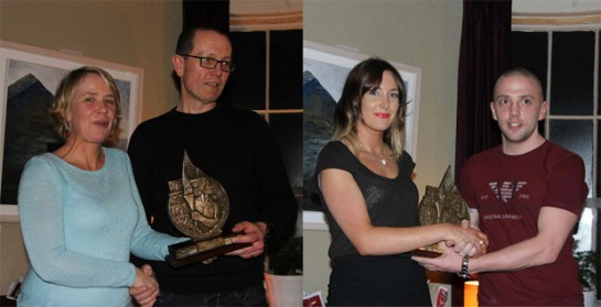 (L) Fiona O'Riordan presenting the Eagle AC Athlete of the Year award to Grellan McGrath. (R) Eric Browne receiving the 2013 Most improved Eagle AC athlete award from the 2012 recipient Caroline Kilty