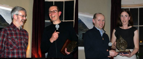 (L) Eagle AC club chairman John Quigley presenting the Athletic Performance of the Year for 2013 to Grellan McGrath for winning the Connemara 100. (R) Wieslaw Sosnowski presenting Elaine Guinane with the Club Person of the Year award