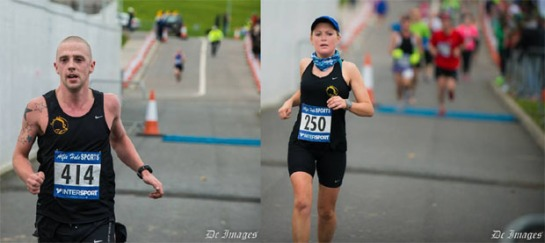 Eric Browne and Nora Corcoran of Eagle AC finishing the 2013 Waterford Half-Marathon