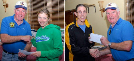 Deirdre Nagle (1st) and Elaine Guinane (3rd) receiving their prizes