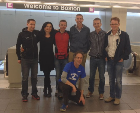 Arriving in Boston...Alan O'Brien, Lisa Boland, Vivian Foley, Colin O'Herlihy, Ronan Boland, Keith Sexton & front...Martin Leahy