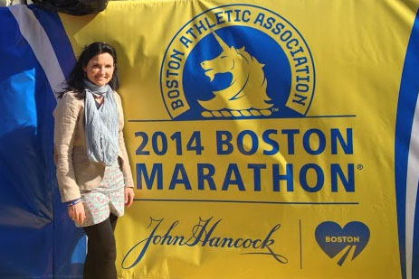 Lisa Boland at the finish line of the Boston Marathon