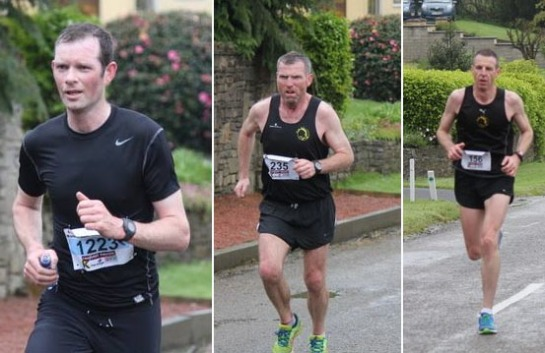 L to R...Eagle AC members Ciaran Bouse, 5th in the 10k race, Kieran Mulcahy, 1st M45 in the Half and Colin O'Herlihy, 2nd M40 in the Half just two weeks after running in the Boston Marathon