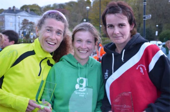 Top 3 women in the Crosshaven 8k...(L) Rosaleen McKeown of Leevale AC 3rd, (C) Deirdre Nagle of Eagle AC 1st and (R) Sharon Woods of Mallow AC 2nd