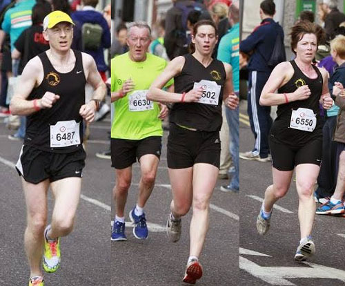 Derek O'Keeffe, Rhona Lynch and Adelle O'Connor in the 1st leg of the relay