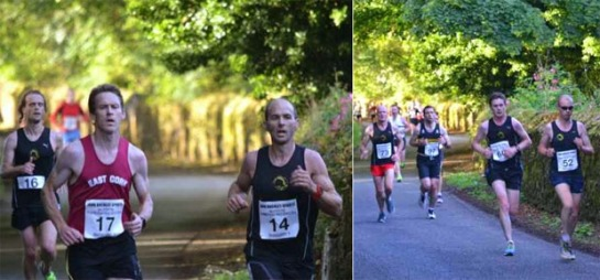 (L) Daithi Creedon...first Eagle AC member home in 28:55 closely followed by John O'Callaghan in 29:00. (R) Paul Cotter (#52), Kevin Geary (#60) and Colm Glavin (#73)...31:20, 31:23 and 31:22 respectively. Photo : Paudie Birmingham