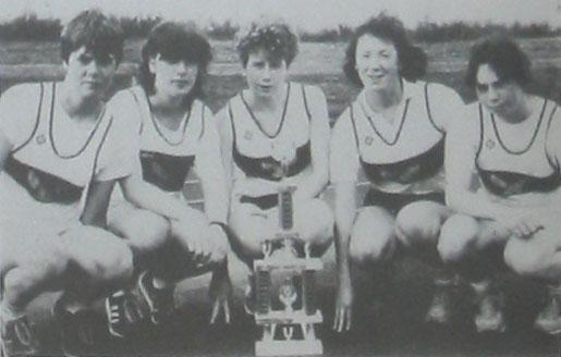 County League Trophy 1985. L-R...Noreen Linehan, Helen Linehan, Fidelma Kirwan, Clodagh Linehan & Kathy Linehan