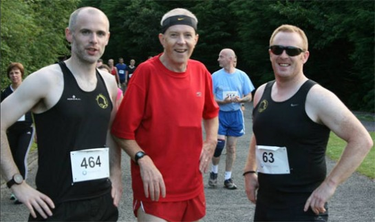 Patrick Walsh, Paul Cotter & John McCarthy near the finish line at Barryscourt Castle